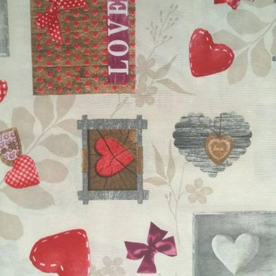 Tessuto per arredamento rustico e romantico con cuori e scritte - multicolor