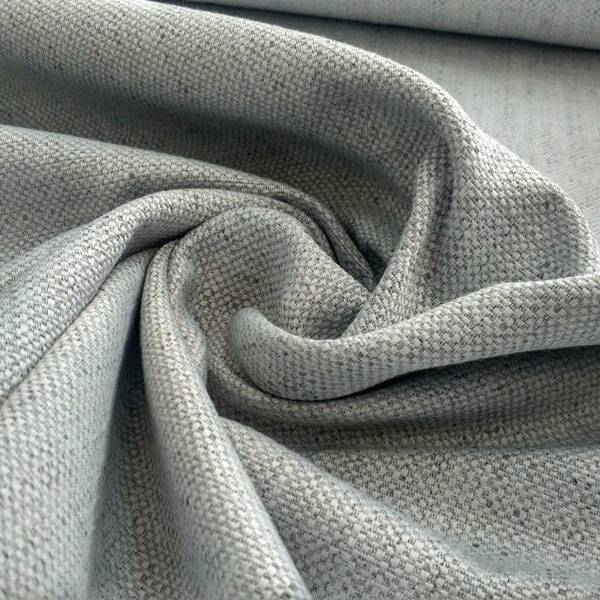 Tessuto per arredamento shabby con tramatura in rilievo - grigio perla