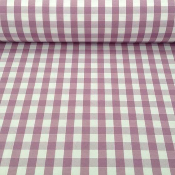 Tessuto in cotone teflon motivo a quadri - bianco e lilla