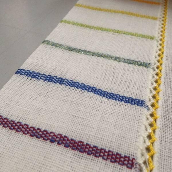Tendino bordato a crochet e ricamo multicolor - bianco