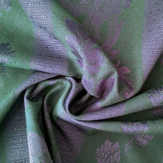 Tessuto arredo stile vintage floreale - viola e verde