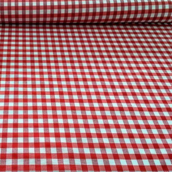 Tessuto in cotone resisnato a fantasia quadretti - bianco e rosso