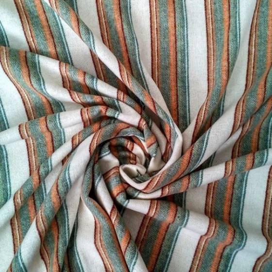 Tessuto in cotone felpato fantasia a righe vintage - sfondo panna