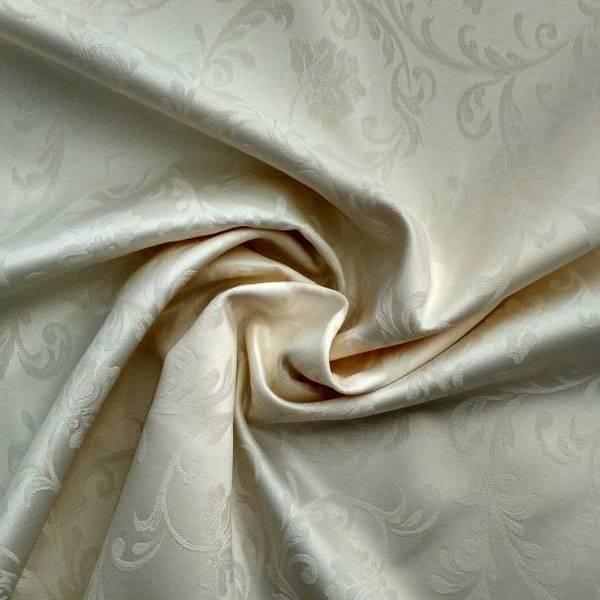 Tessuto arredo in misto cotone a fantasia floreale damascato - avorio