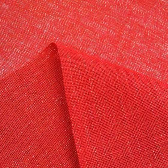 Tessuto in juta con riflessi oro - rosso