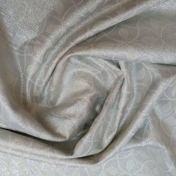 Tessuto double face motivo damascato a foglie - panna e argento