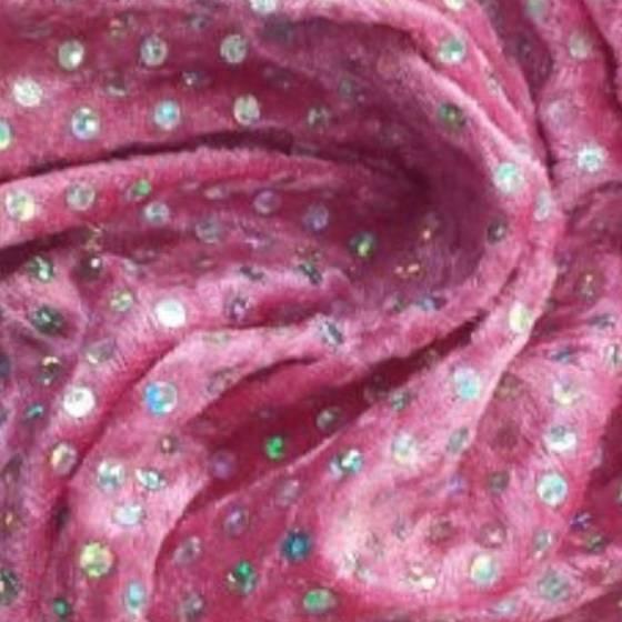 Tessuto in vellutino fantasia a paillettes argentate - fucsia