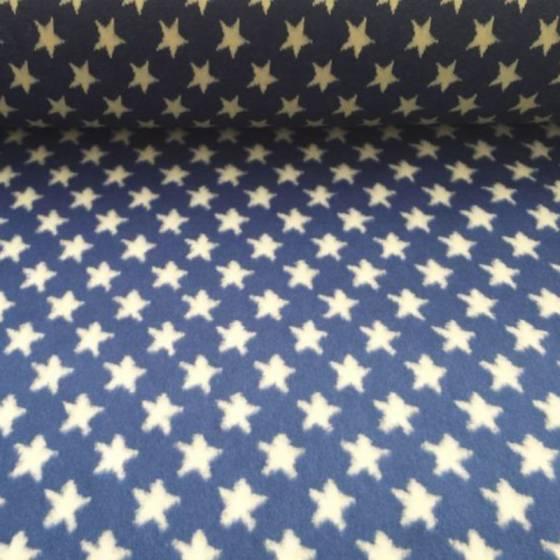 Tessuto in pelliccetta a pelo corto fantasia a stelle - bianco e blu