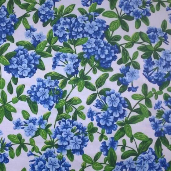Tessuto tovagliato plastificato Bottaro motivo orchidee - bianco e blu