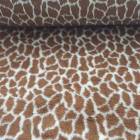 Tessuto in pelliccetta a pelo corto fantasia giraffa  - marrone e bianco