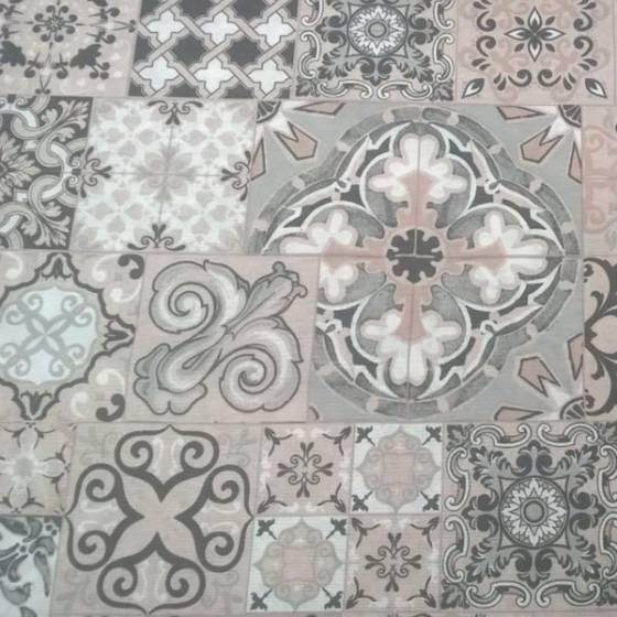 Tessuto per arredo ad effetto maiolica - grigio e panna