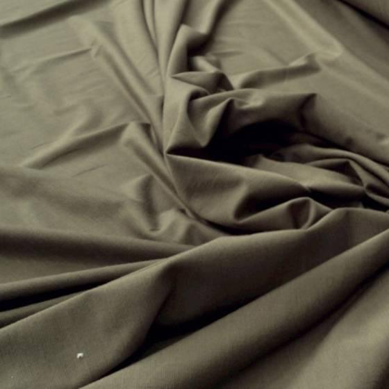 Tessuto in maglina misto cotone leggero - marrone/verde militare