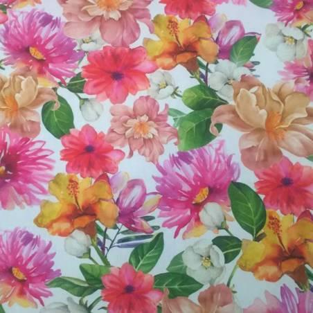 Tessuto per arredo a fantasia floreale stile acquerello - multicolor