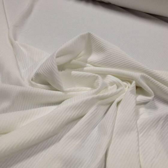 Tessuto in maglina elasticizzata rigata su tinta- bianca