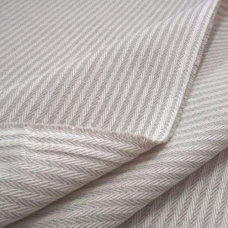 Tessuto per arredo e rivestimento motivo a righe - ecru e tortora