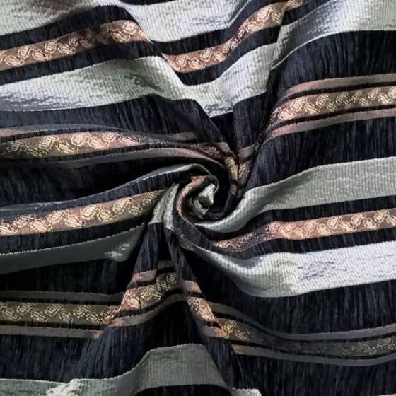 Tessuto per arredo e rivestimento con righe a motivo damascato -  nero e tortora