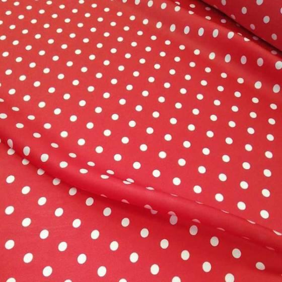 Tessuto per abbigliamento in raso a pois - rosso e bianco