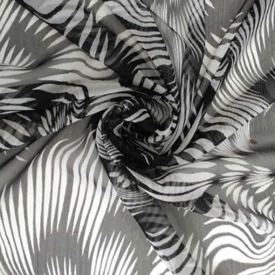 Tessuto voile seta motivo a linee stilizzate