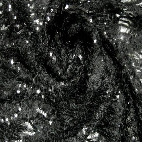 Tessuto in pizzo per abbigliamento con paillettes - nero
