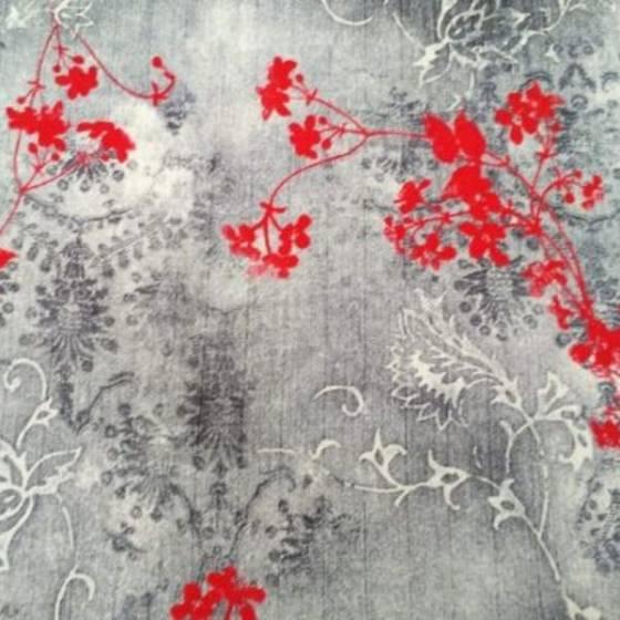 Tessuto per abbigliamento floreale in stile orientale - grigio e rosso