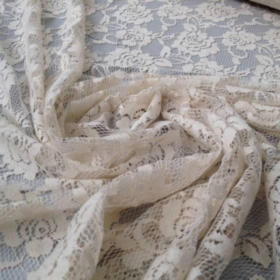 Tessuti in pizzo ricamato motivo floreale - beige/bianco