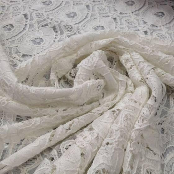 Tessuto in pizzo ricamato motivo geometrico - bianco