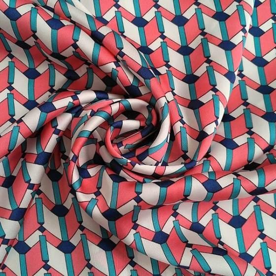 Tessuto in raso per abbigliamento motivo geometrico - rosa bianco e verde acqua