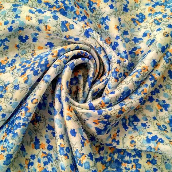 Tessuto in raso a fiorellini per abbigliamento - multicolor