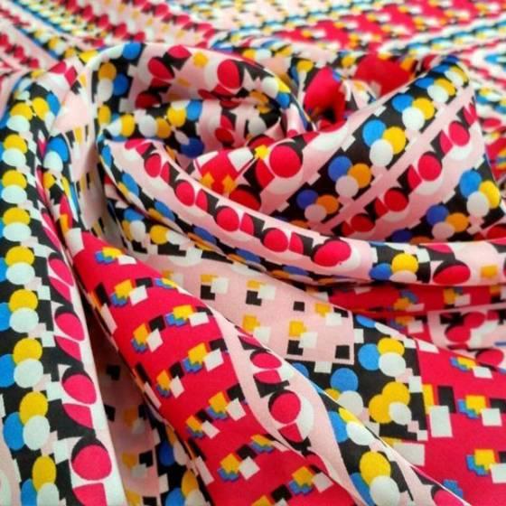 Tessuto per abbigliamento in raso fantasia a pois geometrici - multicolor