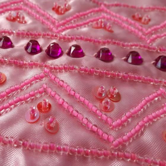 Balza in raso con perline e paillettes - rosa e fucsia