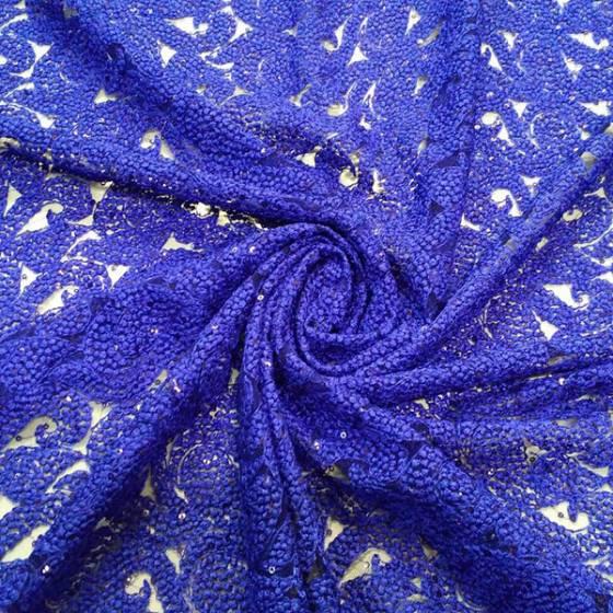 Tessuto per abbigliamento in pizzo con paillettes con trasparenze - blu elettrico