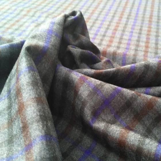 Tessuto per abbigliamento in lana fantasia a quadretti scozzese - grigio arancio e viola
