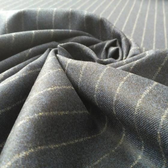 Tessuto in lana per abbigliamento a righe - blu