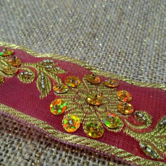 Nastro con paillettes e decorazioni floreali in stile liberty - rosso e oro