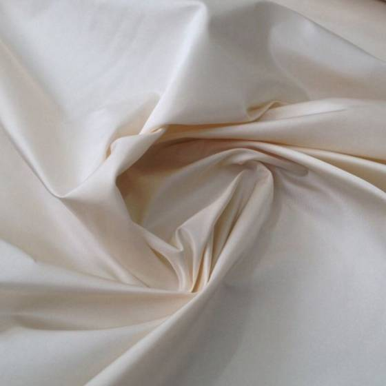 Tessuto per abiti in seta taffetà - panna