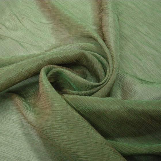 Tessuto per abbigliamento organza  con groppatura - azzurro/verde
