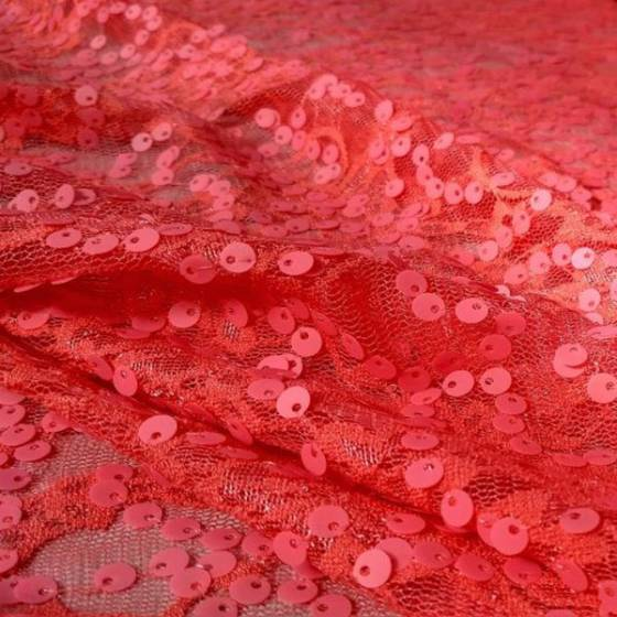 Tessuto per abbigliamento in tulle estivo con piallettes - rosa fluo