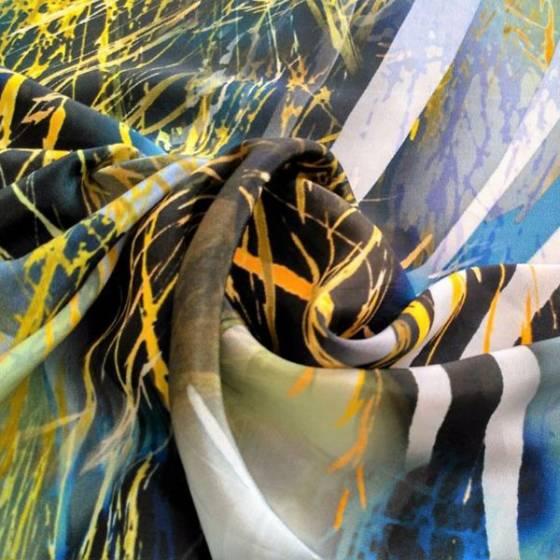 Tessuto in raso di seta per abigliamento zebrato - multicolor