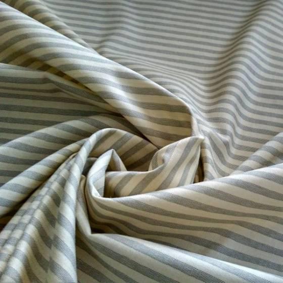 Tessuto in cotone a righe grigie stile marinaro - bianco