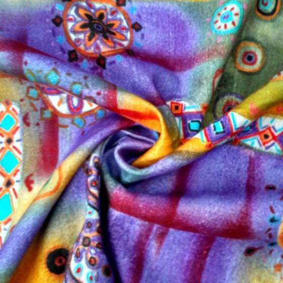 Tessuto in cotone felpato stile boho a fantasia hippi - multicolor