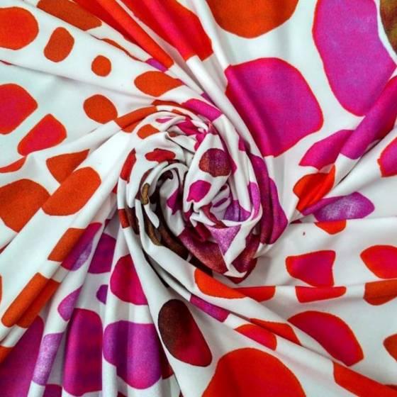 Tessuto in lycra bielastico a fantasia maculata - bianco,rosso