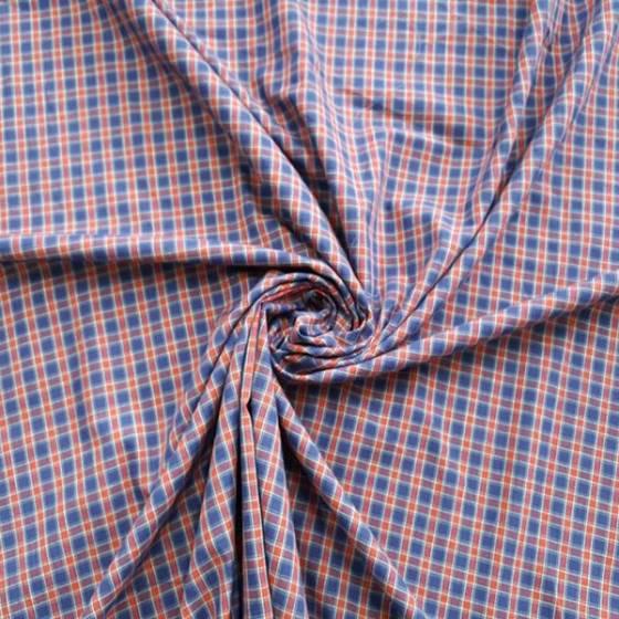 Tessuto in cotone stile scozzese a quadretti - rosso e blu