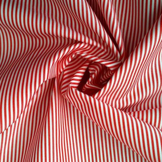 Tessuto cotone motivo a righe - bianco e rosso