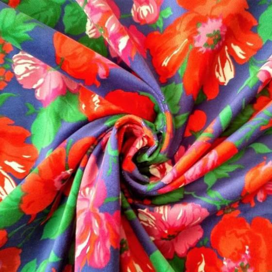 Tessuto in velluto di cotone fantasia a fiori - sfondo blu