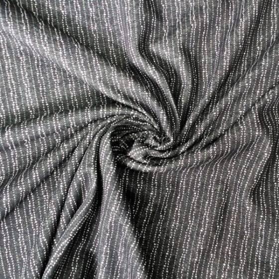 Maglina di cotone felpata a righe verticali - grigio