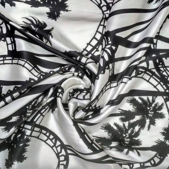 Tessuto in seta stile los angeles - bianco e nero