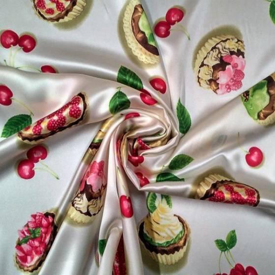 Tessuto in seta decorata con cupcake e ciliegie - panna