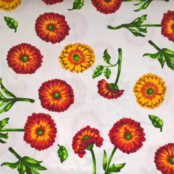 Tessuto per arredo e tovagliato motivo floreale - bianco e arancione