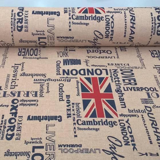 Tessuto per tovagliato resinato motivo british - panna e blu