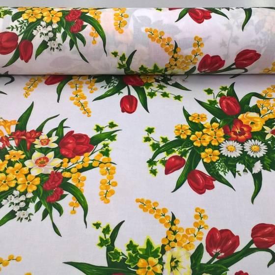 Tessuto tovagliato plastificato Bottaro motivo floreale - sfondo bianco